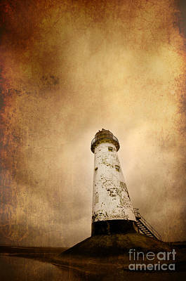 Vintage Lighthouse Poster by Meirion Matthias