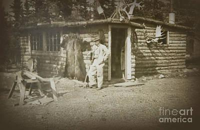 Vintage Log Cabin Poster by Linda Phelps