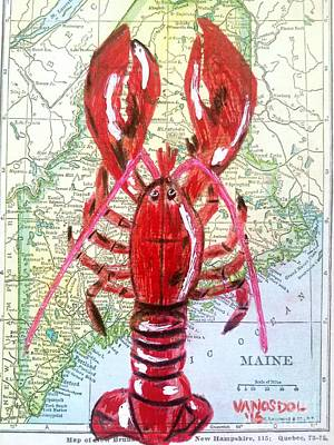 Vintage Map Maine Red Lobster Poster
