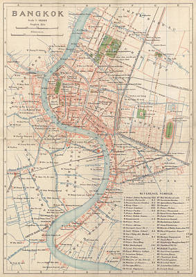 Poster featuring the drawing Vintage Map Of Bangkok, Thailand From 1920 by Blue Monocle