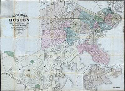 Vintage Map Of Boston Massachusetts - 1870 Poster by CartographyAssociates