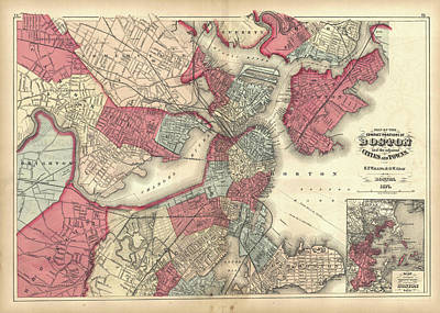 Vintage Map Of Boston Massachusetts - 1871 Poster by CartographyAssociates