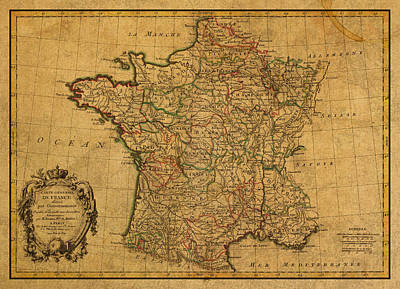 Vintage Map Of France Old Schematic Circa 1771 On Worn Distressed Parchment Poster