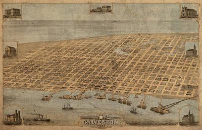 Vintage Map Of Galveston Texas 1871 Birds Eye Street View  Poster
