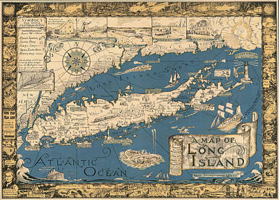 Vintage Map Of Long Island Poster by James Kirkikis
