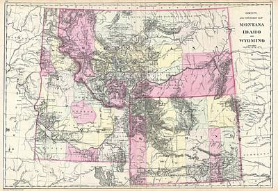 Vintage Map Of Montana, Wyoming And Idaho  Poster