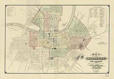 Vintage Map Of Nashville Tennessee - 1877 Poster