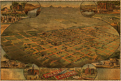 Vintage Map Of Phoenix Arizona Aerial View Topographical Illustration Artwork On Distressed Canvas Poster