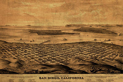 Vintage Map Of San Diego California Street Map Birds Eye View Schematic Poster by Design Turnpike