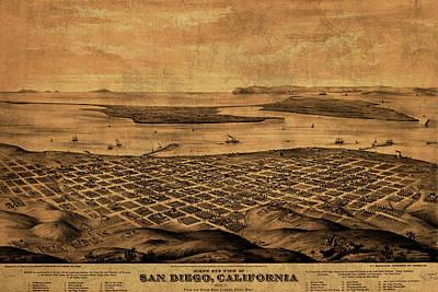 Vintage Map Of San Diego California Street Map Birds Eye View Schematic Poster
