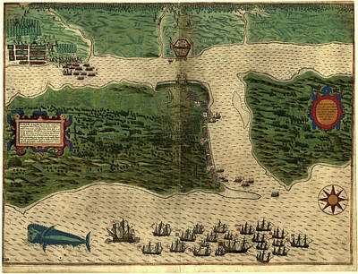 Vintage Map Of St. Augustine Florida - 1589 Poster by CartographyAssociates