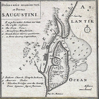 Vintage Map Of St. Augustine Florida - 1737 Poster by CartographyAssociates