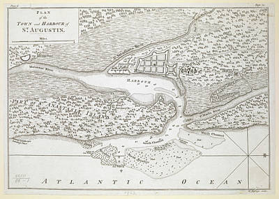 Vintage Map Of St. Augustine Florida - 1763 Poster by CartographyAssociates