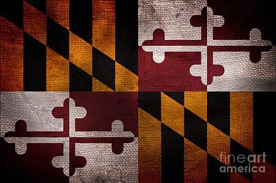Vintage Maryland Flag Poster by Jon Neidert