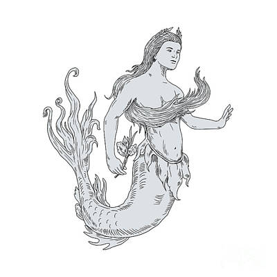 Vintage Mermaid Holding Flower Drawing Poster by Aloysius Patrimonio