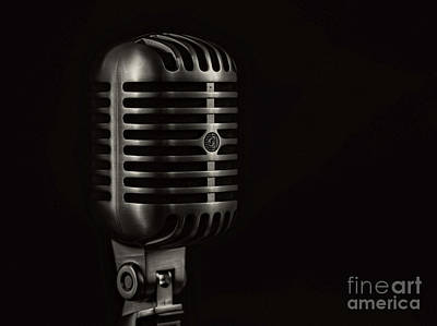 Vintage Microphone Black And White Poster by Edward Fielding