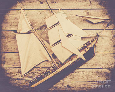 Vintage Mini Ship On Wooden Background Poster