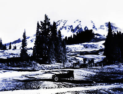 Vintage Mount Rainier With Antique Car Early 1900 Era... Poster
