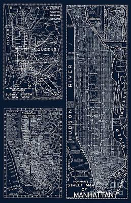 Vintage New York City Street Map Poster
