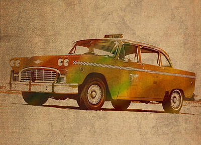 Vintage New York City Taxi Cab Watercolor Painting On Worn Canvas Poster