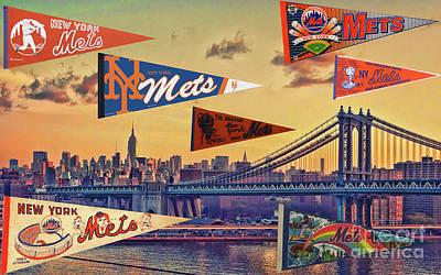 Vintage New York Mets Poster by Steven Parker