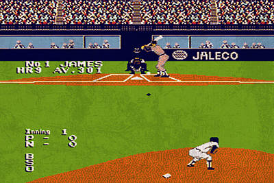 Vintage Nintendo Nes Bases Loaded Game Scene Poster
