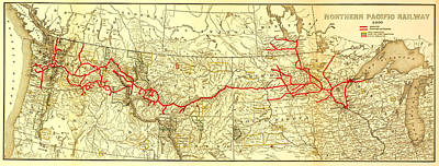 Vintage Northern Pacific Railway Map Poster