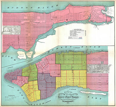 Vintage Nyc Fire Department Map  Poster by CartographyAssociates