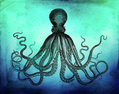 Vintage Octopus On Blue Green Watercolor Poster