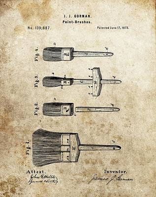 Vintage Paint Brush Patent Poster by Dan Sproul