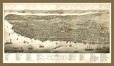 Vintage Panoramic Map Of Halifax Nova Scotia Canada Poster by Pd