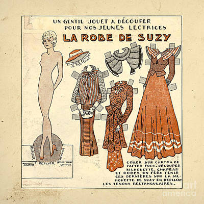 Vintage Paper Doll Poster by Delphimages Photo Creations