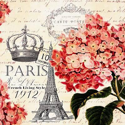 Vintage Paris Hydrangea Poster