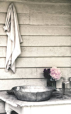 Vintage Peony And Hand Wash Basin Poster by Julie Palencia
