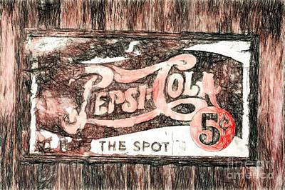 Vintage Pepsi Cola Sign Poster by Mel Steinhauer