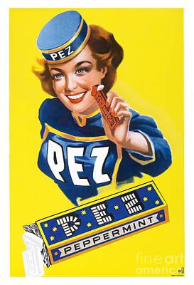 Vintage Pez Advertisment Poster by Jon Neidert