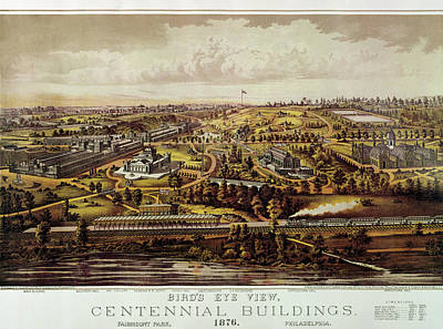 Vintage Philadelphia 1876 Centennial Map Poster by Mark Kiver