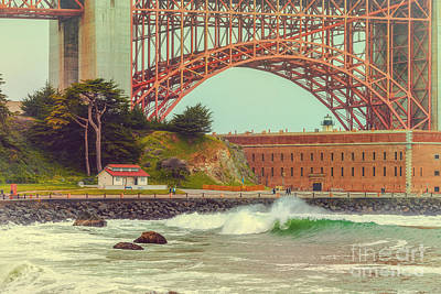 Vintage Photograph Of Fort Point And Golden Gate Bridge - San Francisco California Poster