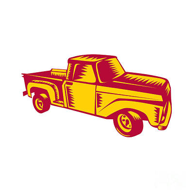Vintage Pick Up Truck Woodcut Poster