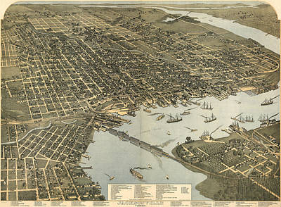 Vintage Pictorial Map Of Jacksonville Fl - 1893 Poster