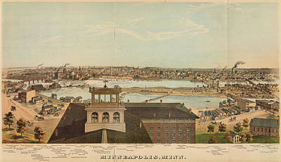 Vintage Pictorial Map Of Minneapolis Mn - 1874 Poster by CartographyAssociates