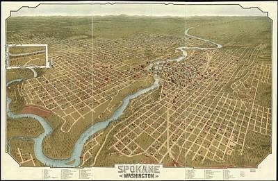 Vintage Pictorial Map Of Spokane Washington - 1905 Poster