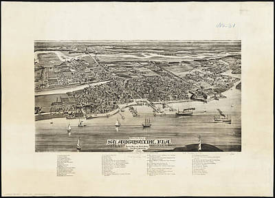 Vintage Pictorial Map Of St. Augustine Fl - 1885 Poster by CartographyAssociates