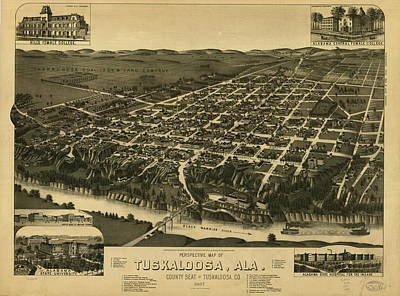 Vintage Pictorial Map Of Tuscaloosa Alabama - 1887 Poster by CartographyAssociates
