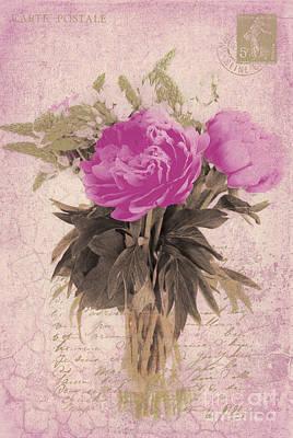 Vintage Pink Peonies Poster by Karen Lewis