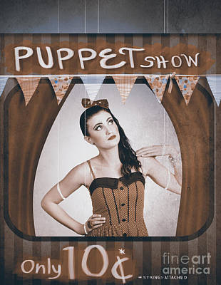 Vintage Pinup Girl Inside A Puppet Show Booth Poster by Jorgo Photography - Wall Art Gallery