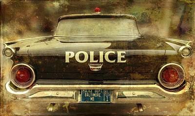 Vintage Police Car - Baltimore, Maryland Poster