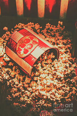 Vintage Popcorn Tin. Faded Films Still Life Poster