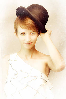 Vintage Portrait In Bowler Hat Poster by Jorgo Photography - Wall Art Gallery