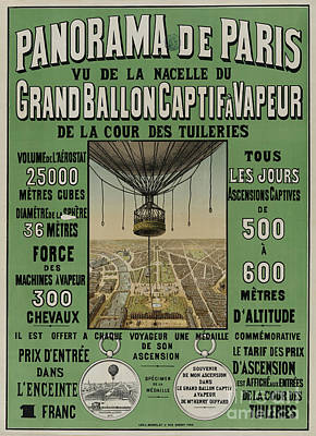Poster featuring the photograph Vintage Poster Of Great Balloon View Of Paris 1878 by John Stephens